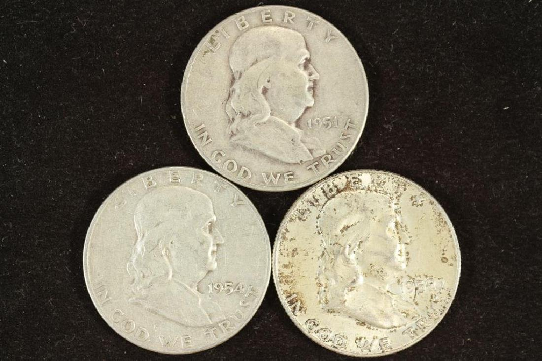 1951-S,54-D & 59 FRANKLIN HALF DOLLARS