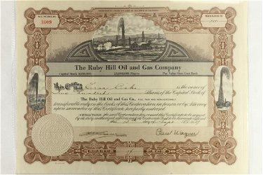 1929 THE RUBY HILL OIL AND GAS COMPANY STOCK
