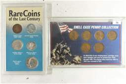 2 US COIN SETS SHELL CASE PENNY COLLECTION AND