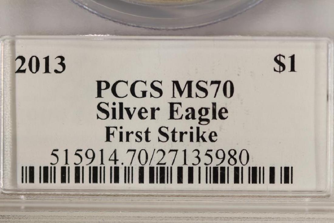 2013 AMERICAN SILVER EAGLE PCGS MS70 1ST STRIKE - 3