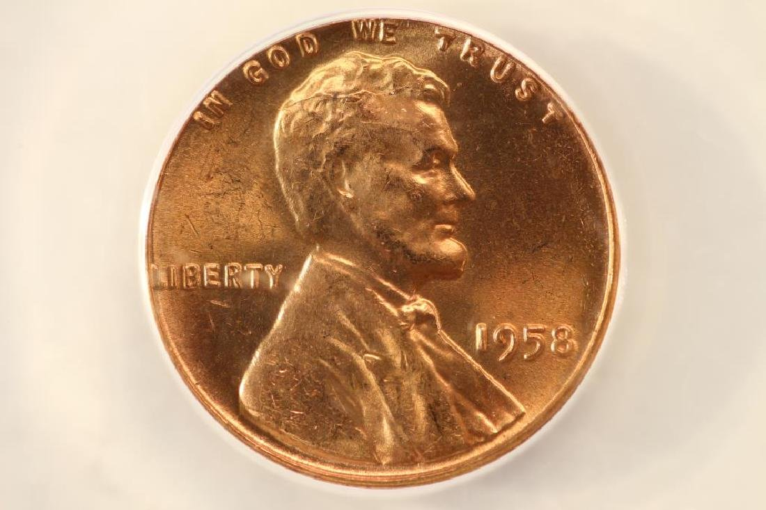 ERROR 1958 LINCOLN CENT OBV. DIE CRACK DIE CHIP