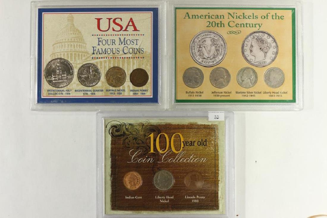 3 US COIN SETS, 100 YEAR OLD COIN COLLECTION
