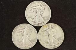 1942PDS WALKING LIBERTY HALF DOLLARS