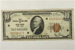 1929 $10 US NATIONAL CURRENCY NEW YORK BROWN SEAL