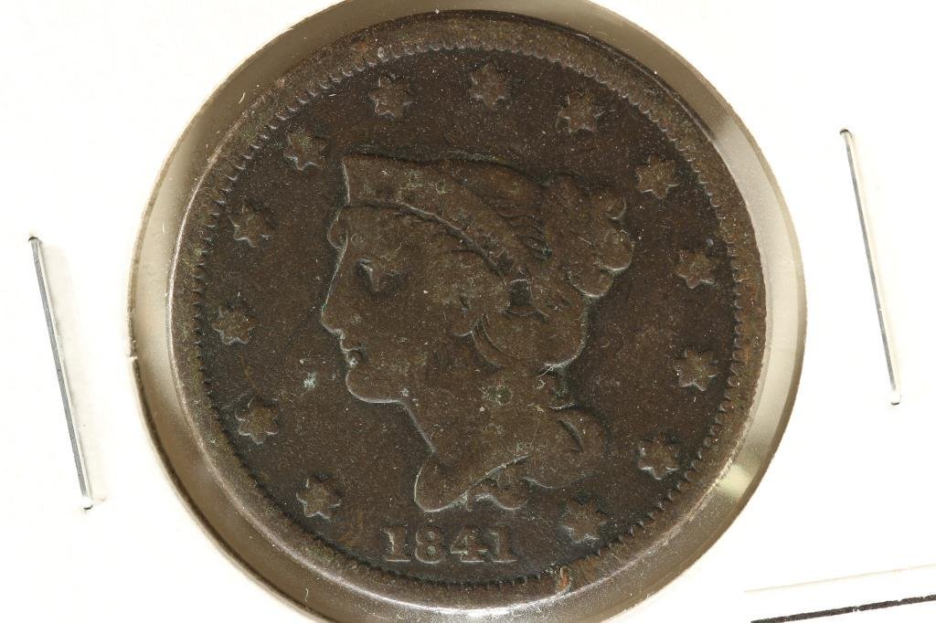 1841 US LARGE CENT WITH GRAFFITI ON REVERSE