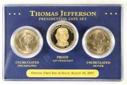 2007 P/D/S THOMAS JEFFERSON PRESIDENTIAL DOLLAR