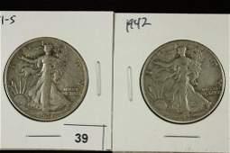 1941S  1942 WALKING LIBERTY HALF DOLLARS