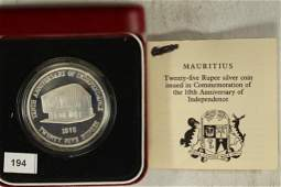 1978 MAURITIUS SILVER PROOF 25 RUPEES 10TH