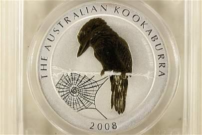 2008-P AUSTRALIA GILT KOOKABURRA 1 OZ SILVER
