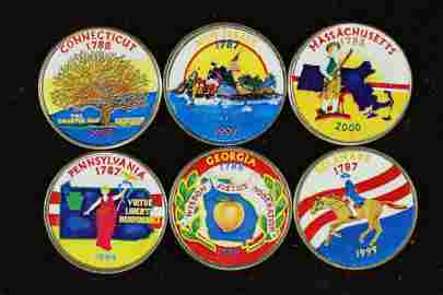6 COLORIZED US 50 STATE QUARTERS
