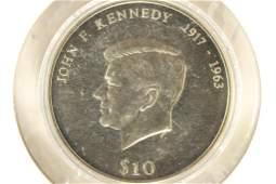 2000 LIBERIA $10 JOHN F. KENNEDY BRILLIANT UNC