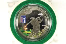 2013 COOK ISLANDS SILVER PROOF $5 WITH 3D GOLF
