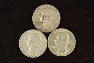 1959-D, 1962-D & 1964-D WASHINGTON SILVER QUARTERS
