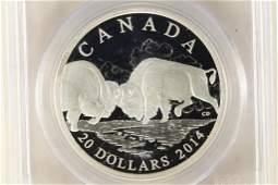 2014 CANADA BISON-THE FIGHT SILVER $20 PCGS PR70