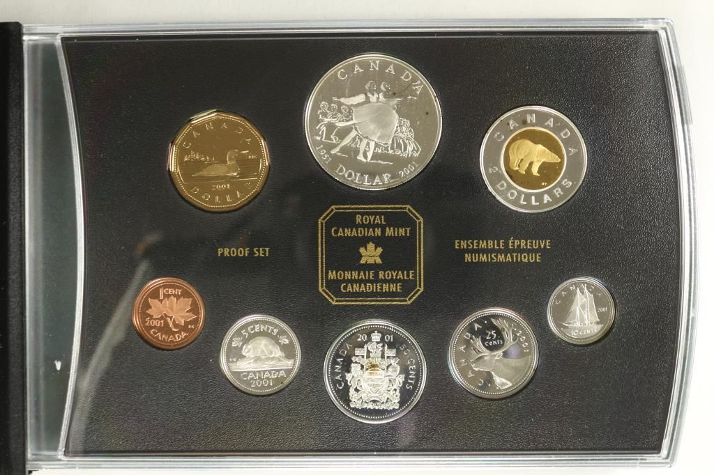 2001 CANADA SILVER PROOF SET ALL COINS STERLING
