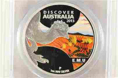 2013-P AUSTRALIA EMU COLORIZED SILVER DOLLAR