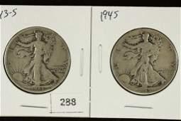 1943S  1945 WALKING LIBERTY HALF DOLLARS