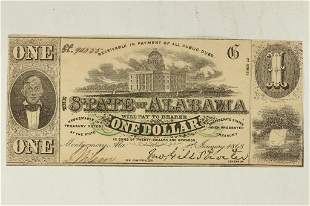1863 STATE OF ALABAMA $1 OBSOLETE BANK NOTE