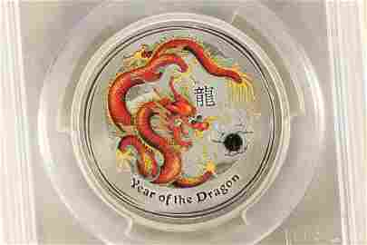 2012-P AUSTRALIA COLORIZED DRAGON 50 CENT