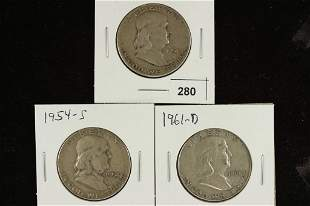 1951-S, 1954-S & 1961-D FRANKLIN HALF DOLLARS