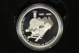 2004 AUSTRALIA SILVER PROOF $5-150 YEARS OF STEAM