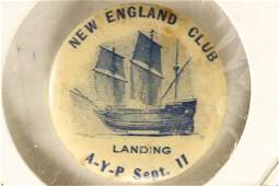 1 1/4 INCH VINTAGE PIN BACK BUTTON NEW ENGLAND