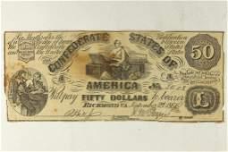 1861 CONFEDERATE STATES OF AMERICA $50