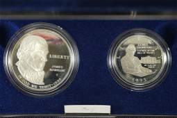 1993 BILL OF RIGHTS 2 COIN SILVER PROOF SET