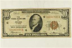 1929 $10 US NATIONAL CURRENCY CHICAGO