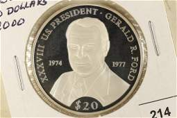 "2000 LIBERIA SILVER PROOF $20 ""GERALD R. FORD"""