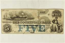 1853 COCCHITUATE BANK OF MASSACHUSETTS $5 UNC