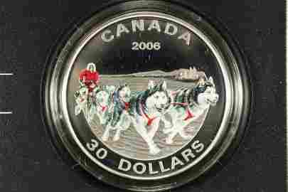 2006 CANADA DOG SLED TEAM SILVER $30