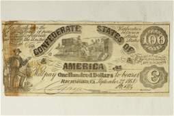 1861 CONFEDERATE STATES OF AMERICA $100