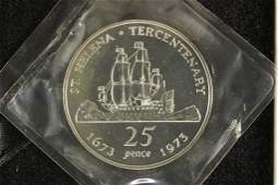 1973 ST. HELENA SILVER PROOF 25 PENCE