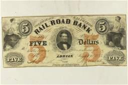 1853 ERIE AND KALAMAZOO RAILROAD BANK $5