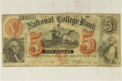 1866 SECOND NATIONAL COLLEGE BANK, VERMONT