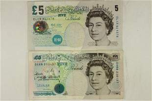 2-BANK OF ENGLAND 5 POUNDS NOTES