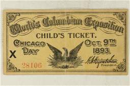 1893 WORLD'S  COLUMBIAN EXPOSITION CHILDS TICKET
