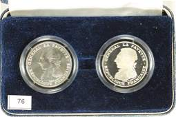 2-1987 FRANCE SILVER 100 FRANC PIEDFORTS PROOFS