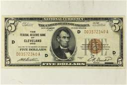 1929-$5 US NATIONAL CURRENCY CLEVELAND