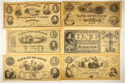 SET OF 6 PIECES OF REPLICA UNION STATES CURRENCY
