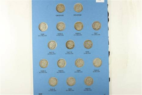 16-SILVER ROOSEVELT DIMES 1946-1964 ALL