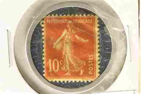 ENCASED POSTAGE STAMP FRANCE 10 CENT CREDIT
