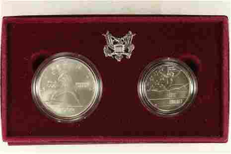 1992 US OLYMPIC 2 COIN UNC SET
