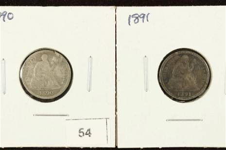1890-VERY FINE & 1891 EXTRA FINE SEATED LIBERTY
