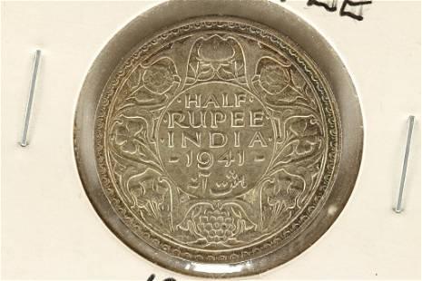 1941 BRITISH INDIA SILVER HALF RUPEE AU