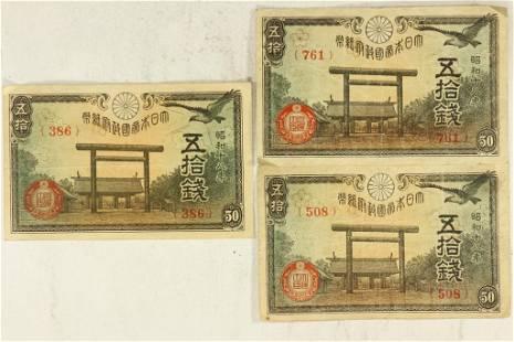 3-JAPANESE 50 SEN NOTES