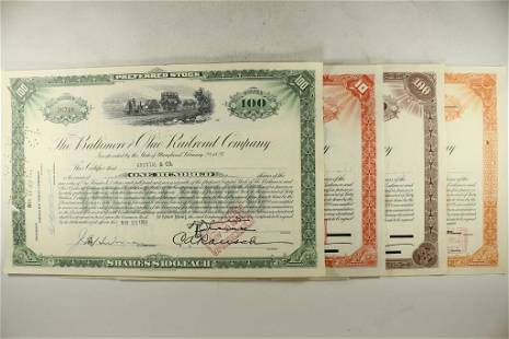 4 ASSORTED VINTAGE RAILROAD STOCK CERTIFICATES