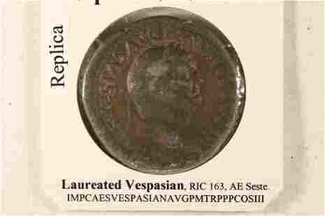 REPLICA 69-79 A.D. VESPASIAN ANCIENT COIN