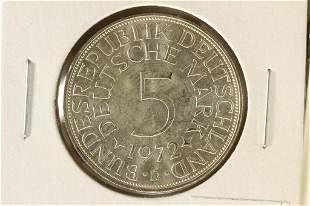 1972-D GERMAN SILVER 5 MARKS BRILLIANT UNC TONED